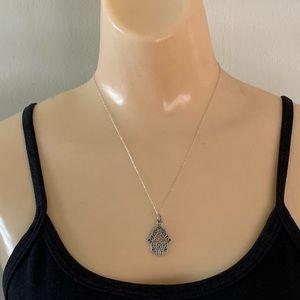 Vintage Sterling Silver Hamsa Pendant Necklace